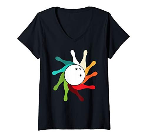 Damen Bowling Balls retro Bowling T-Shirt mit V-Ausschnitt