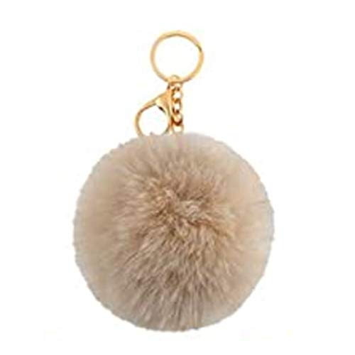 Brown Manual original Gold Plated Keychain,Faux Rabbit Fur Bag Car Decoration,Ball Pom Key chain for Car Key Ring & Handbags & Tote Bags,Pendant Charm,Best gift for woman