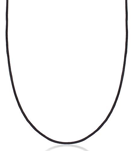 Damen Halskette Seidenband 2 mm schwarz, Seidenkordel für Schmuck Anhänger, Stoffkette mit Karabiner Verschluss aus 925 Sterling Silber vergoldet, 0103580420_70