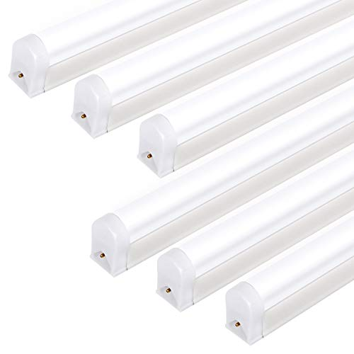 Hykolity Integrated LED T5 Single Light Fixture, 4FT, 22W, 2200lm, Upgraded 6500K, Linkable LED Shop Light Ceiling Tube, Corded Electric with Built-in ON/Off Switch (6 Pack)