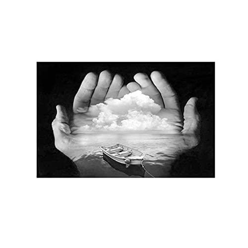 WANGWO Wandkunst Bilderdruck Schwarz-Weiß-Hände halten Wolke Leinwanddruck Gestreckter und gerahmter Druck auf Leinwand Leinwandbild 30x50cm Rahmenlos
