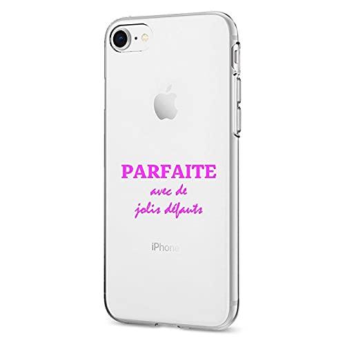 Carcasa Swag SIL01001XXS de silicona transparente para iPhone X/XS – Perfecta con bonitos deflectos, texto rosa