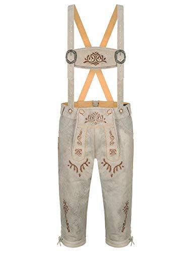 ALMBOCK Trachtenlederhose Kniebund Herren beige - Trachtenlederhose hell mit aufwendigen Stickereien - Lederhose vintage - Trachtenlederhose Herren 52