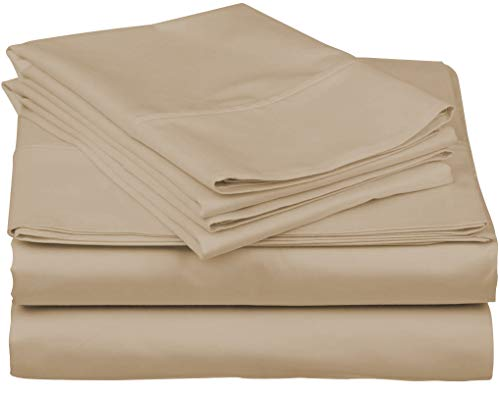 True Luxury 1000-Thread-Count 100% Egyptian Cotton Bed Sheets, 4-Pc King Sand Sheet Set, Single Ply Long-Staple Yarns, Sateen Weave, Fits Mattress Upto 18