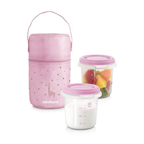 Miniland Frischebehälter Set 2 x 250ml mit Isoliertasche - PACK-2-GO HERMISIZED ROSE