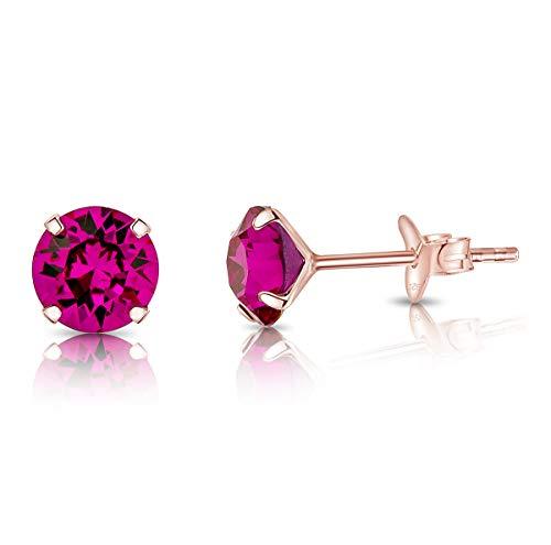 DTPsilver - Semental Pendientes/Aretes de Plata de Ley 925 Chapado en Oro Rosa con Cristal Swarovski® Elements Redondo - Diámetro: 6 mm