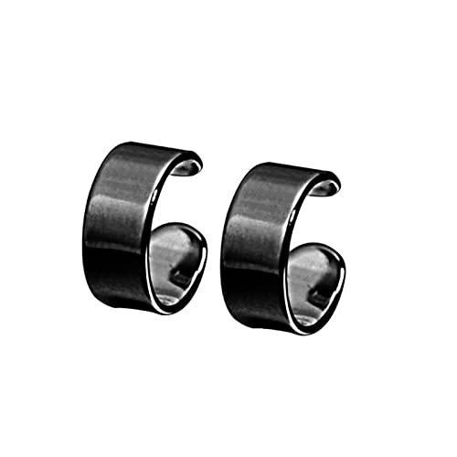 Pendientes de Clip de oreja de superficie lisa de plata de ley 925 para mujeres y niñas sin piercing joyería-negro