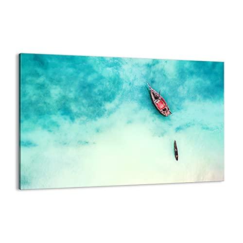 Cuadro sobre lienzo - Impresión de Imagen - Isla barco barco océano - 120x80cm - Imagen Impresión - Cuadros Decoracion - Impresión en lienzo - Cuadros Modernos - Lienzo Decorativo - AA120x80-2923