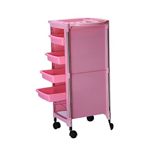 XIAOWEIBA 5 cassetti Livelli Carrello Multifunzione per Parrucchiere Vassoio portaoggetti Trucco per Bellezza Carrello per Barbiere, Rosa