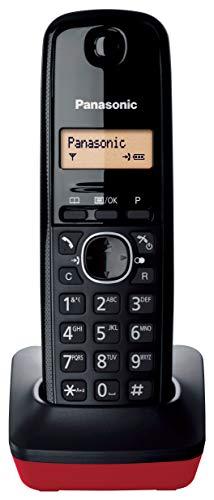 Panasonic KX-TG1611 - Teléfono fijo inalámbrico (LCD, identificador de llamadas, agenda de 50 números, tecla de navegación, alarma, reloj) Negro/Rojo, Tamaño Único