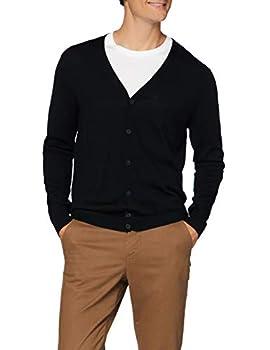 MERAKI Men s Fine Knit Merino Wool Slim Fit V-Neck Cardigan Black Medium
