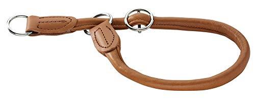 HUNTER Round & Soft Elk Dressurhalsung, Hundehalsband, Leder, weich, rund, fellschonend, 50 (M-L), cognac