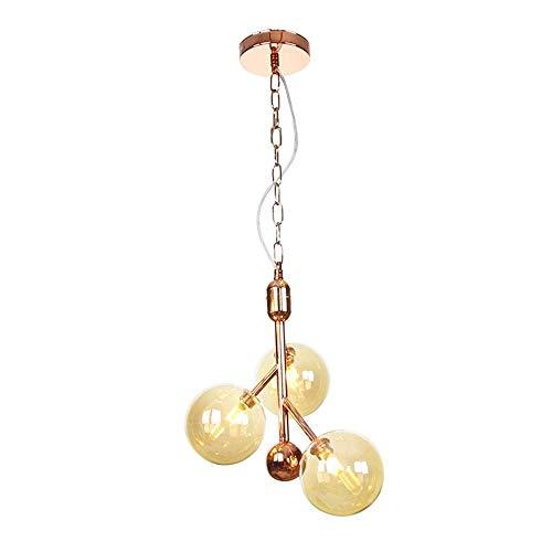 Sunny Lingt Nordic ámbar Bola de cristal de la lámpara, creativo 3/6 esférico Sputnik luz pendiente, G4 casi al ras del montaje del techo de luz, la decoración de la lámpara colgante de alumbr