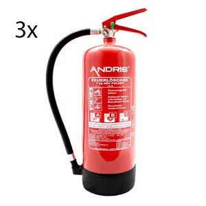 Feuerlöscher 3X 6kg ABC Pulverlöscher mit Manometer EN 3 inkl. ANDRIS® Prüfnachweis mit Jahresmarke