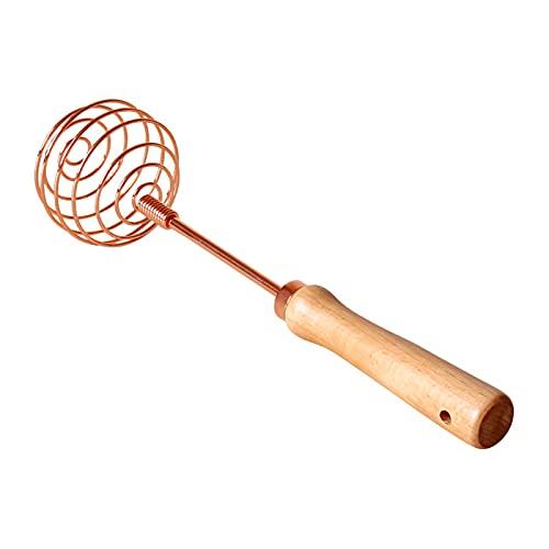 Almabbg Utensilios de cocina para hornear, mango de madera de haya de oro rosa, batidor manual de acero inoxidable, batidor de huevo para cocinar