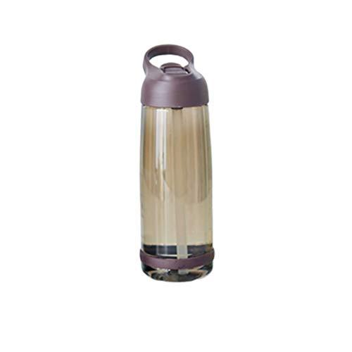 FAVOMOTO Sportwasserflasche Große Tragbare Trinkflaschen Auslaufsichere Plastikbecherflasche mit Hoher Kapazität Und Strohgriff zum Laufen Sportgymnastik 1000 Ml (Kaffee)