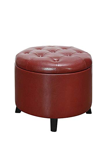 Convenience Concepts Designs4Comfort Round Ottoman, Burgundy Faux Leather