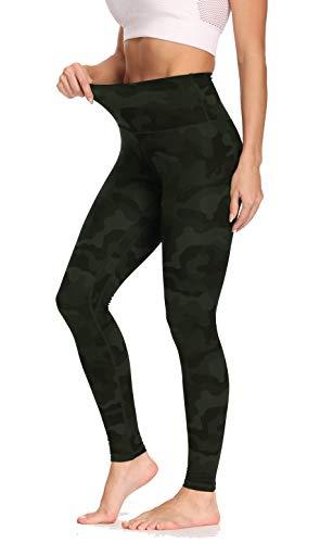 Olacia High Waist Sport Leggings Damen Camo Sporthose Fitness Yogahose mit Bauchkontrolle, Armee grüne Tarnung, M