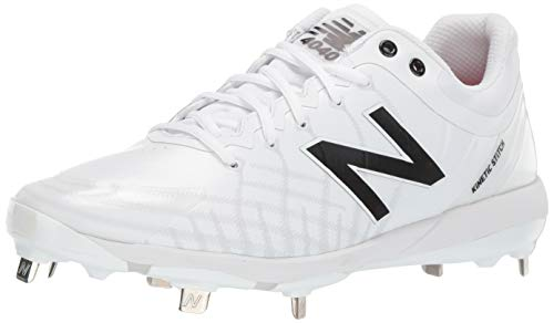 New Balance Men's 4040 V5 Metal Baseball Shoe, White/White, 9.5 M US