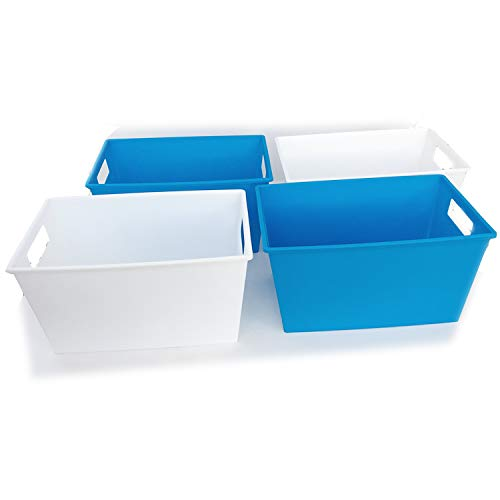 Plastic Book Bins for Classroom Library Organizing Containers Pantry Organization and Storage Shelves Cubes Magazine File Holder Toy Organizer Blue White Colorful Rectangular Locker Dorm Room 4 Pack