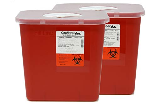 2 Gallon Size | Sharps and Biohazard Waste Disposal Container (Pack of 2) by Oakridge Products