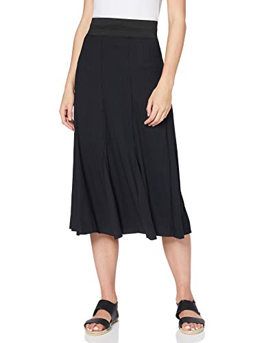 find. Damen Midi-Rock mit Streifenmuster, Schwarz (Black), 36, Label: S