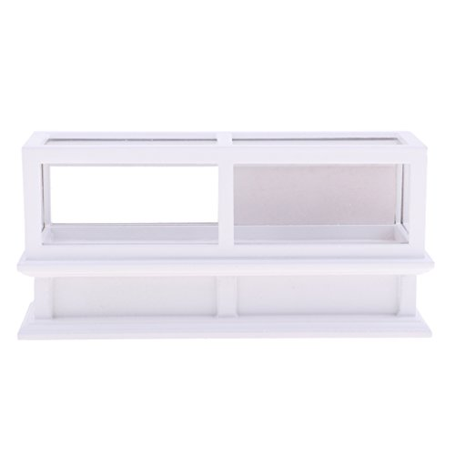 SM SunniMix Escaparate en Miniatura de Accesorios de Casa de Muñecas de Productos de Madera, Color Blanco