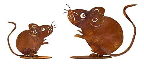 Edelrost 2tlg. Mäuse auf Platte Geschenk Garten Tierfigur Maus Rost Figur