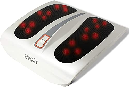 HoMedics Shiatsu Sole Soothing Foot Massager with Heat, 6 Rotating Nodes, 18 Massage Heads for Full Foot Massage Experience - White