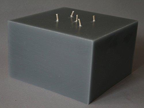 Mehrdochtkerze, Kerzen, quadratisch, Quadrat, viereckig, groß, grau, 20 x 20 x 12 cm, 5 Dochte