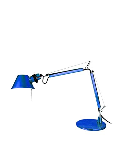 Artemide Tolomeo Micro Tischlampe mit Fuss, Länge 45 Höhe 37 max 73 cm, blau