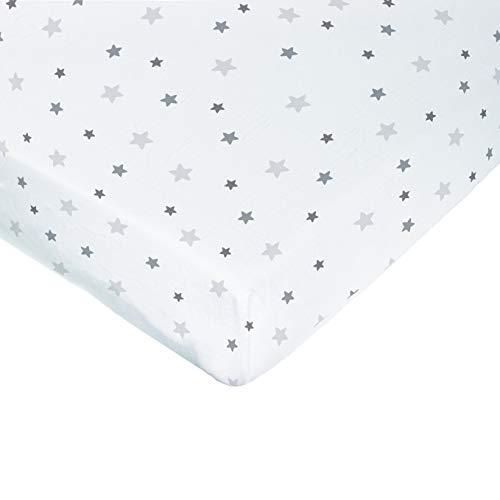poyetmotte impermeable sábana bajera, 60x 120cm, gris estrellas