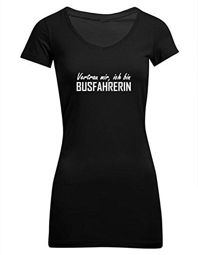 Vertrau mir, ich bin Busfahrerin, Frauen Extra Lang T-Shirt, Größe XL, schwarz