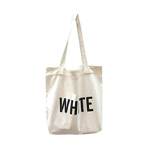 JINSUO NWXZU Eco Bolsa de Bolsos de Las señoras de impresión de Letras de Tela Bolsa Lienzo de algodón Compras Viajes Mujeres Reutilizables Shopper Bolsas de Hombro (Color : 2)