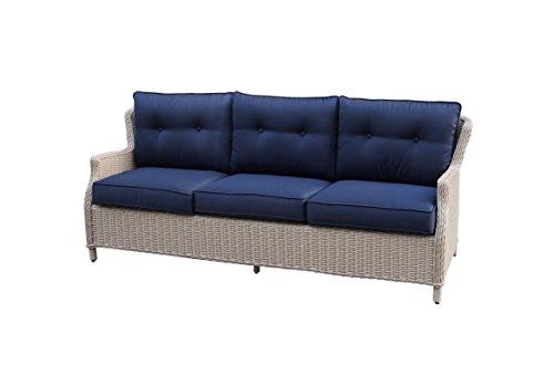 Büloo Polyrattan Gartenmöbel Lounge Set Sitzgruppe mit 2-Sitzer-Sofa oder 3-Sitzer-Sofa, Farbe in helles beige oder braun, aus Aluminium, fertig montiert (3-Sitzer-Sofa, braun/Weiss) kaufen  Bild 1*