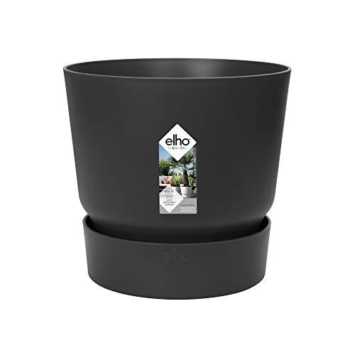 Elho Greenville Rund 30 - Blumentopf - Lebhaft Schwarz - Draußen - Ø 29.5 x H 27.8 cm
