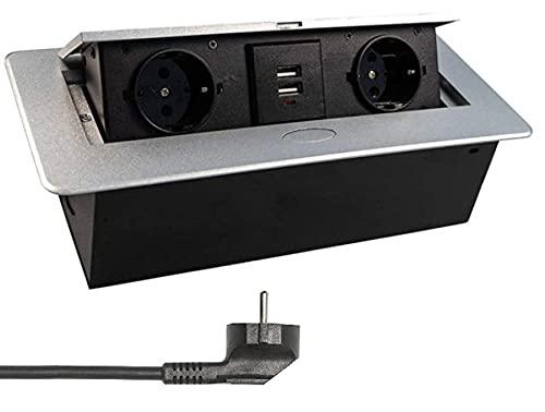 Einbausteckdose mit 2X USB in Silber mit Kabel- Stecker Steckdose Tischsteckdose versenkbar Schreibtisch Stromdose Energiestation