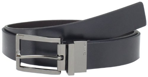 Calvin Klein Men's Reversible Belt with Rounded Square Point, Black/Brown, 34