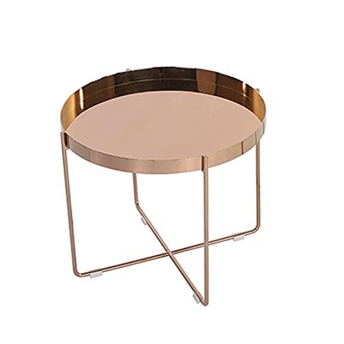 JCNFA Tavolini da caffè Acciaio inossidabile rotondo dorato Vassoio Tavolino da caffè Small Tavolo rotondo con vassoio pieghevole in metallo,Tavolino da sa(Size:21.65*21.65*18.50in,Color:Brushed gold)