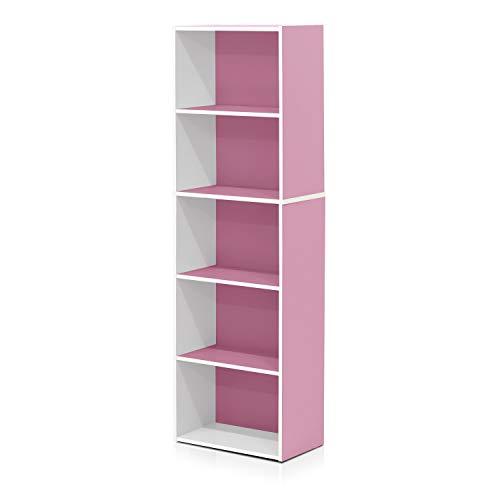 Furinno offenes Bücherregal mit 5 Fächerm, Holz, Weiß/Rosa, 40.1 x 23.98 x 132.1 cm