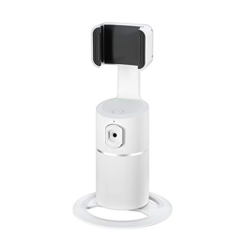 Face Tracking Cell Phone Stand Desktop Phone Holder Dock with 360° Rotate Smart Object Track Camera Cradle for iPhone Android Phones Vlog Shooting Live Streaming Video Chat Face Time (White)