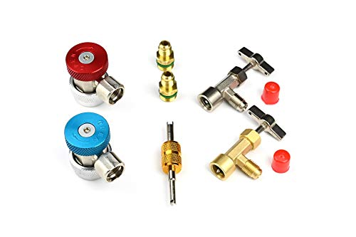 LU-HAWK Automotive R134a Recharge Kit with Self Sealing Can Tap Valve. Includes High/Low Side Quick Couplers with 1/4 adapters, Both Self Sealing and Single Puncture Can Taps, and Valve Core Remover.