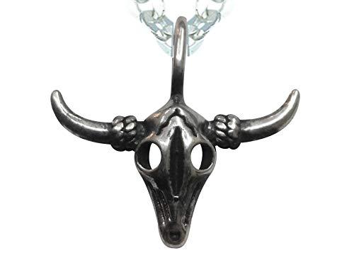 Sicuore Colgante Collar Craneo Cabeza Bufalo Toro para Mujer Hombre - Plata De Ley 925 Incluye Cadena De Plata De 45cm Y Estuche para Regalo