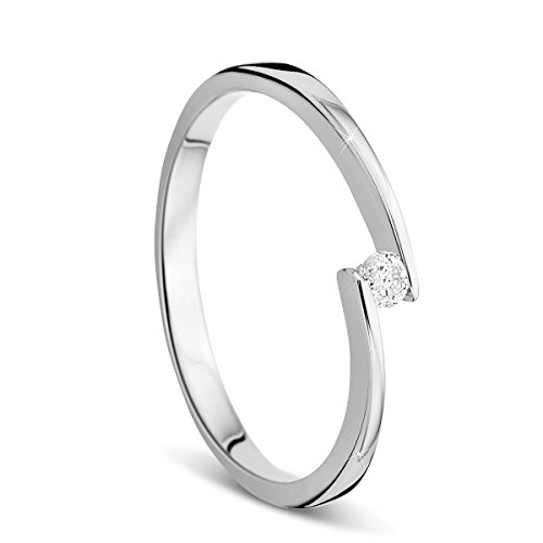 Orovi Damen Verlobungsring Gold Solitärring Diamantring 14 Karat (585) Brillianten 0.05crt Weißgold Ring mit Diamanten Ring Handgemacht in Italien