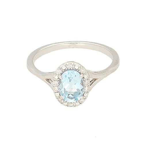 Anillo de oro blanco de 9 quilates para mujer, aguamarina y halo de diamantes, talla L, 7 x 10 mm, anillo de lujo para mujer
