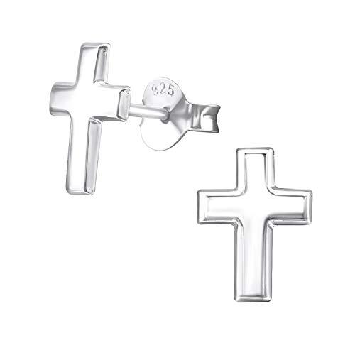 Laimons Pendientes para mujer Cruz de diseño Plata de ley 925