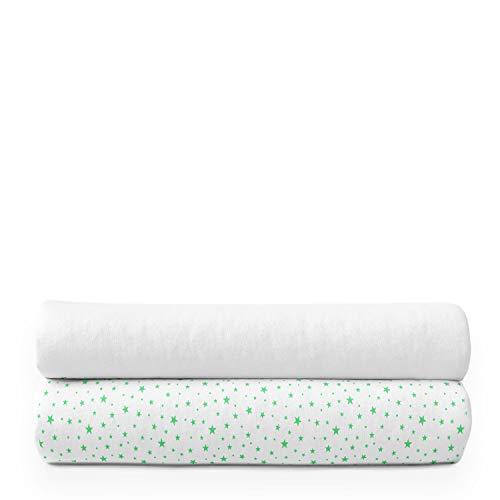 Alreya Moltontücher   Baumwolltücher   Spucktücher - 2er Pack   80x80 cm - 1 Weiß 1 Grün Star   Schadstoffgeprüft Hypoallergen   Baby Spucktücher   Flanelltücher   Mulltücher