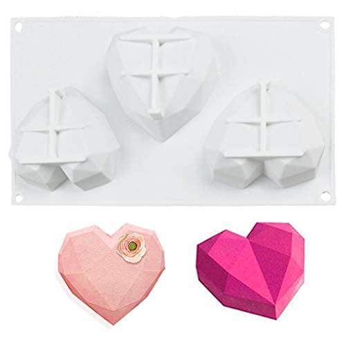シリコン型 シリコンモールド シリコンムース型  ベーキング チョコレート型 お菓子 ケーキ 金型 3D抜き型 DIY 3穴 製菓道具 製菓ツール お菓子作りの型 ハート型 オーブン冷凍兼用 立体的な心型