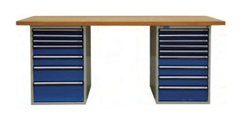 ADB Werkbank m. 2x Schubladenbox 7+9 Schubladen Arbeitsplatte 1500 o 2000 mm, Größe:2000 x 750 x 50 mm