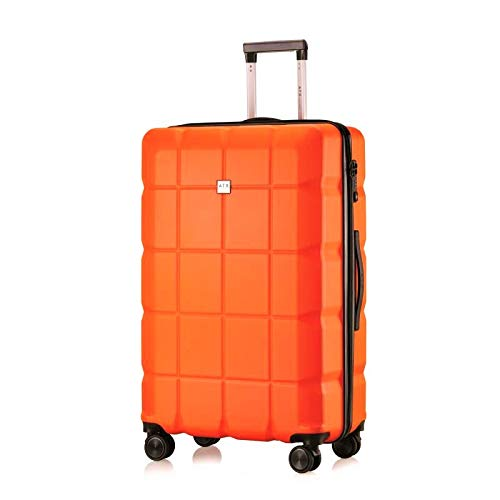 ATX Luggage 28 inch Large Super Lightweight Durable ABS Hardshell Hold Luggage Suitcases Travel Bags Trolley Case Hold Check in Luggage with 8 Wheels Built-in TSA Lock (28' Large, Orange)